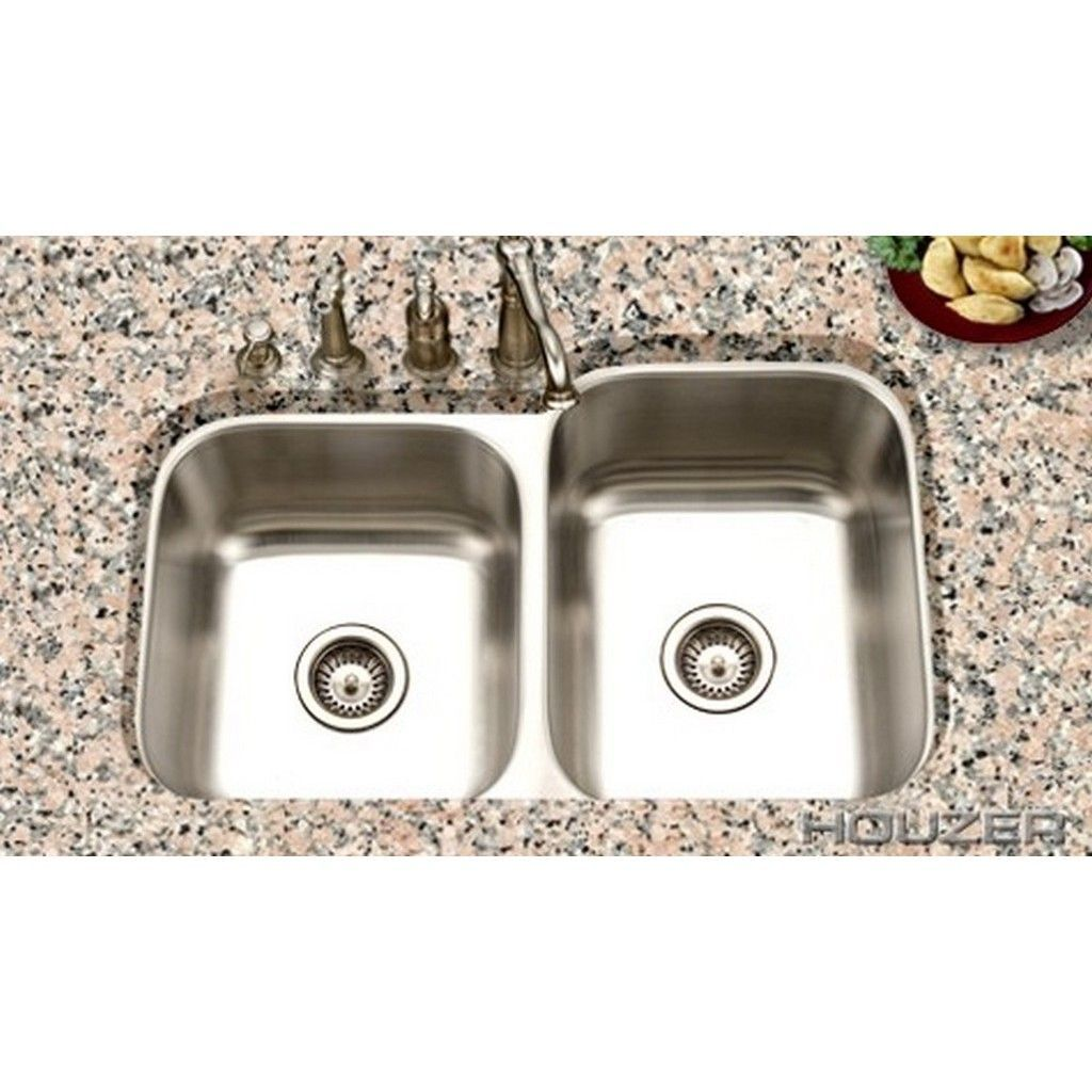Houzer Eston 16 Gauge 60 40 Stainless Steel Silver 8 Inch And 9 Deep Single Pack Double Bowl Sink