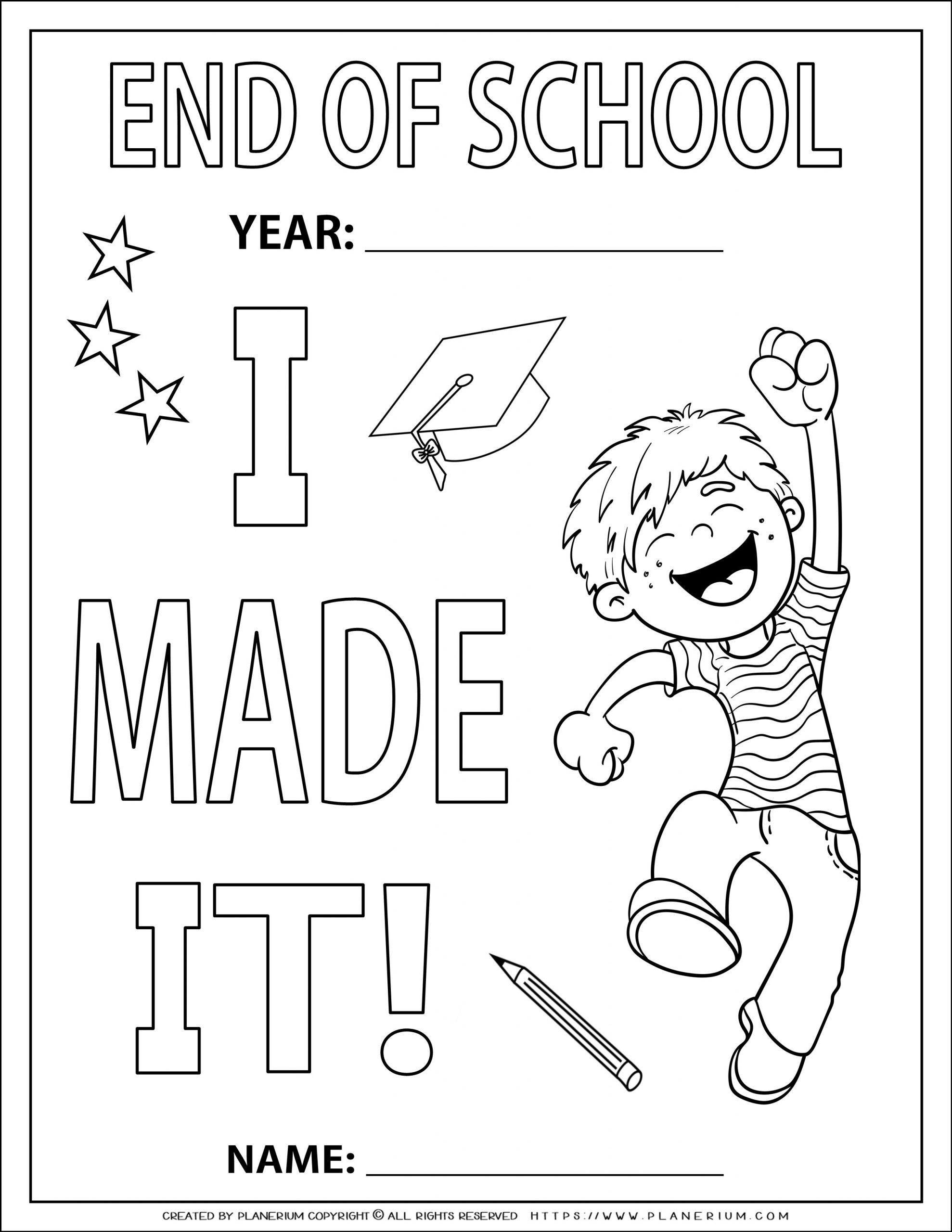 End Of Year Coloring Page I Made It For A Boy Planerium End Of Year End Of School Year Coloring Pages [ 2560 x 1978 Pixel ]