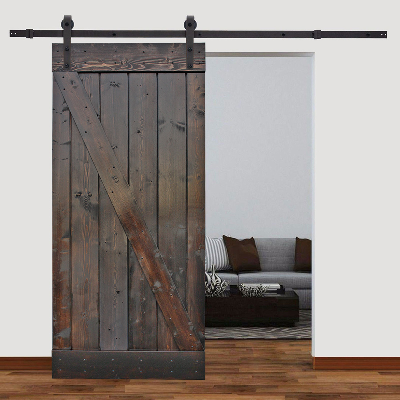 Custom Size Sliding Door Black Hardware 8ft 9ft 10ft 12ft 14ft 16ft 18ft Wood Doors Interior Doors Interior Interior Barn Doors