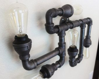 Steampunk industrial pipe lighting wall art vintage for Black pipe light fixture