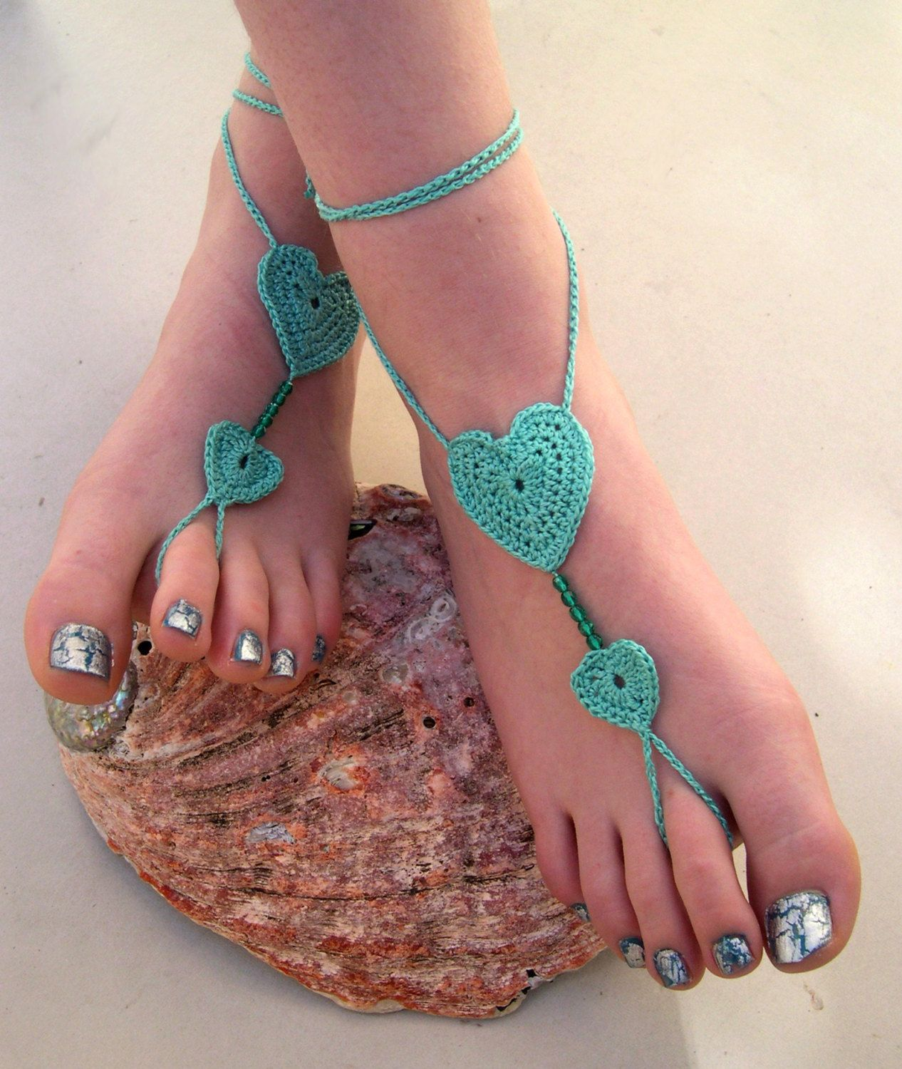Mint Barefoot sandals Crocheted Heart Anklet Foot