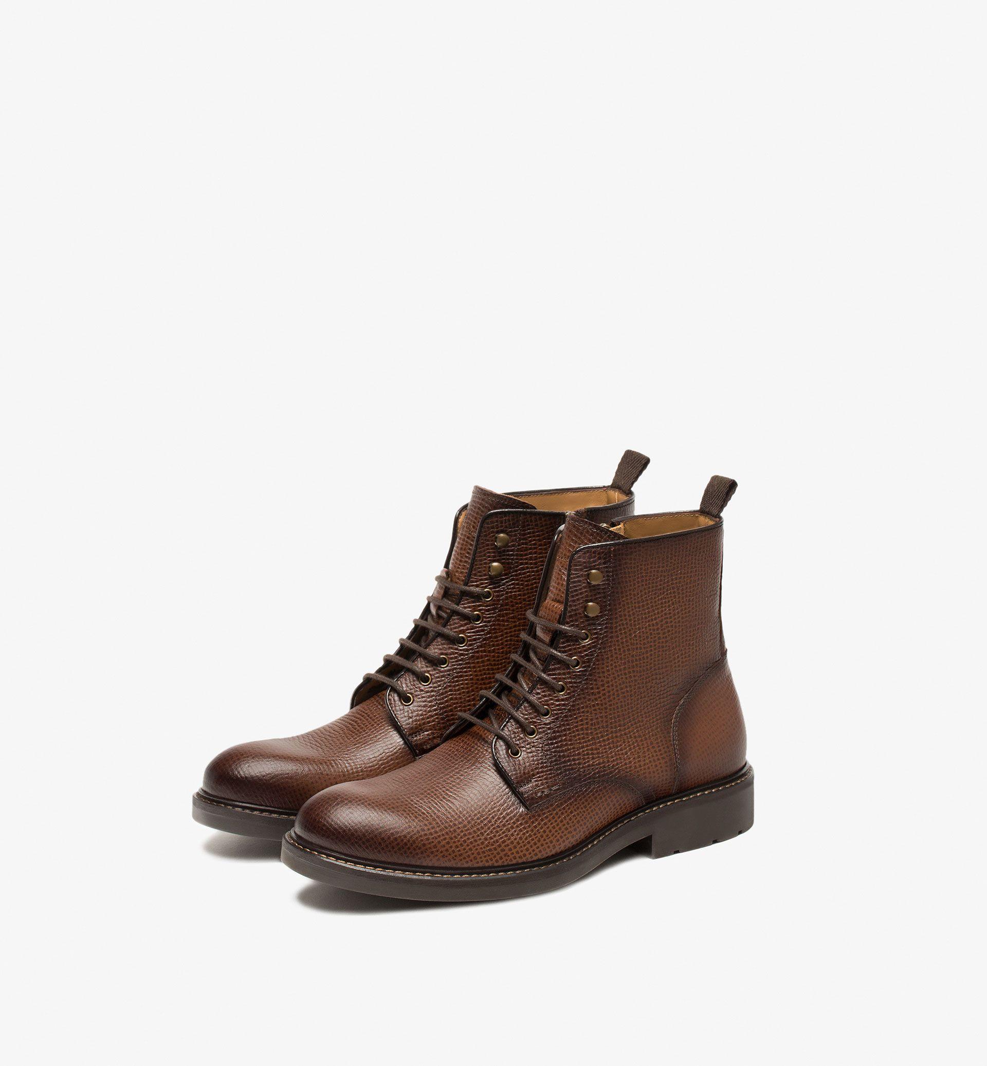 72b4ad6c54e BOTTINE CUIR NAPPA GRAVÉ - Tout voir - Chaussures - HOMMES - Belgique -  Massimo Dutti