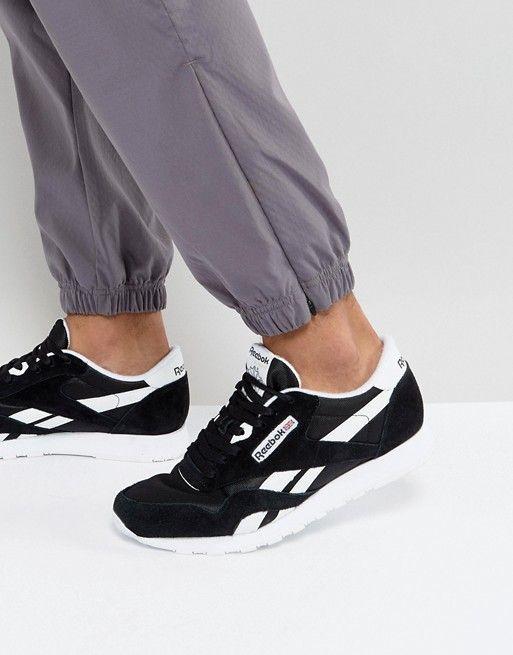 c060ba69fa4 Reebok Classic Leather Nylon Sneakers In Black 6604