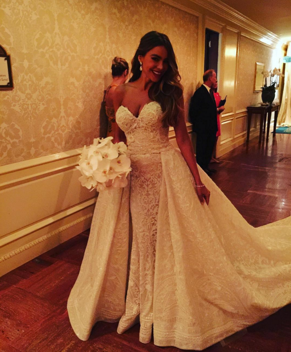 Stop Everything And Check Out The Prettiest Moments From Sofia Vergara Joe Manganiello S Palm Beach Wedding Weekend Sofia Vergara Wedding Sofia Vergara Wedding Dress Celebrity Bride