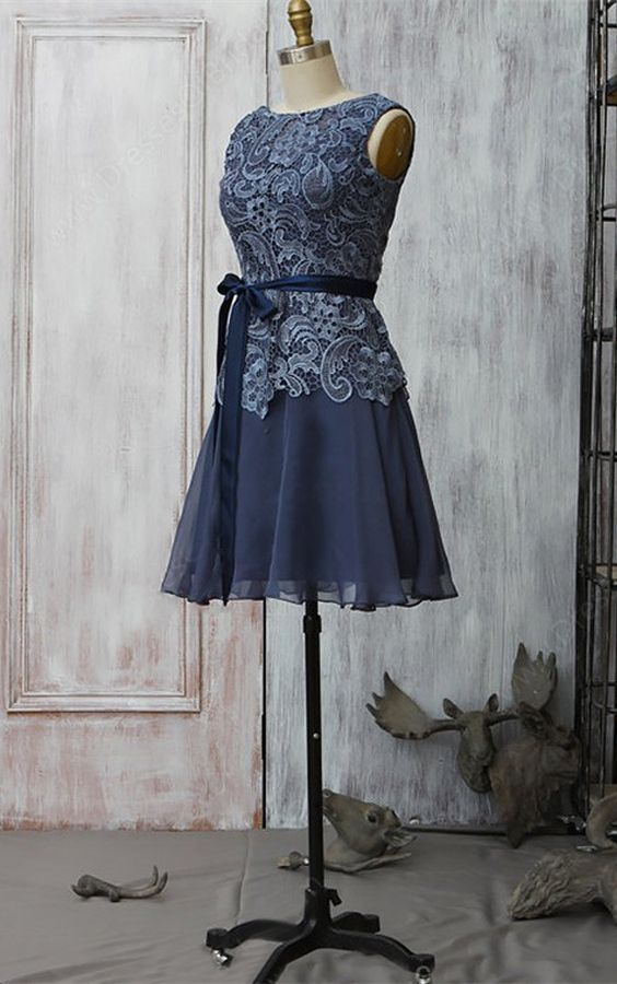 0d6a8623ba0 A-Line Round Neck Navy Blue Chiffon Mother Of The Bride Dress with ...