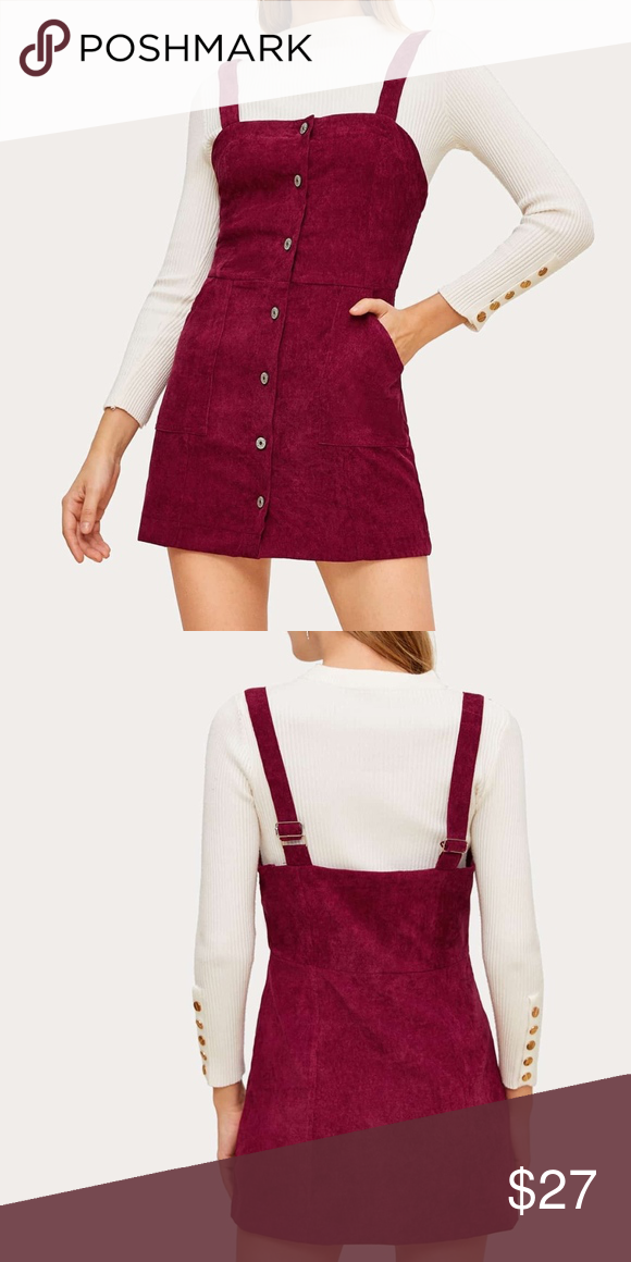 buy good half off new arrivals Button Front Corduroy Pinafore Dress Super cute mini dress, great ...