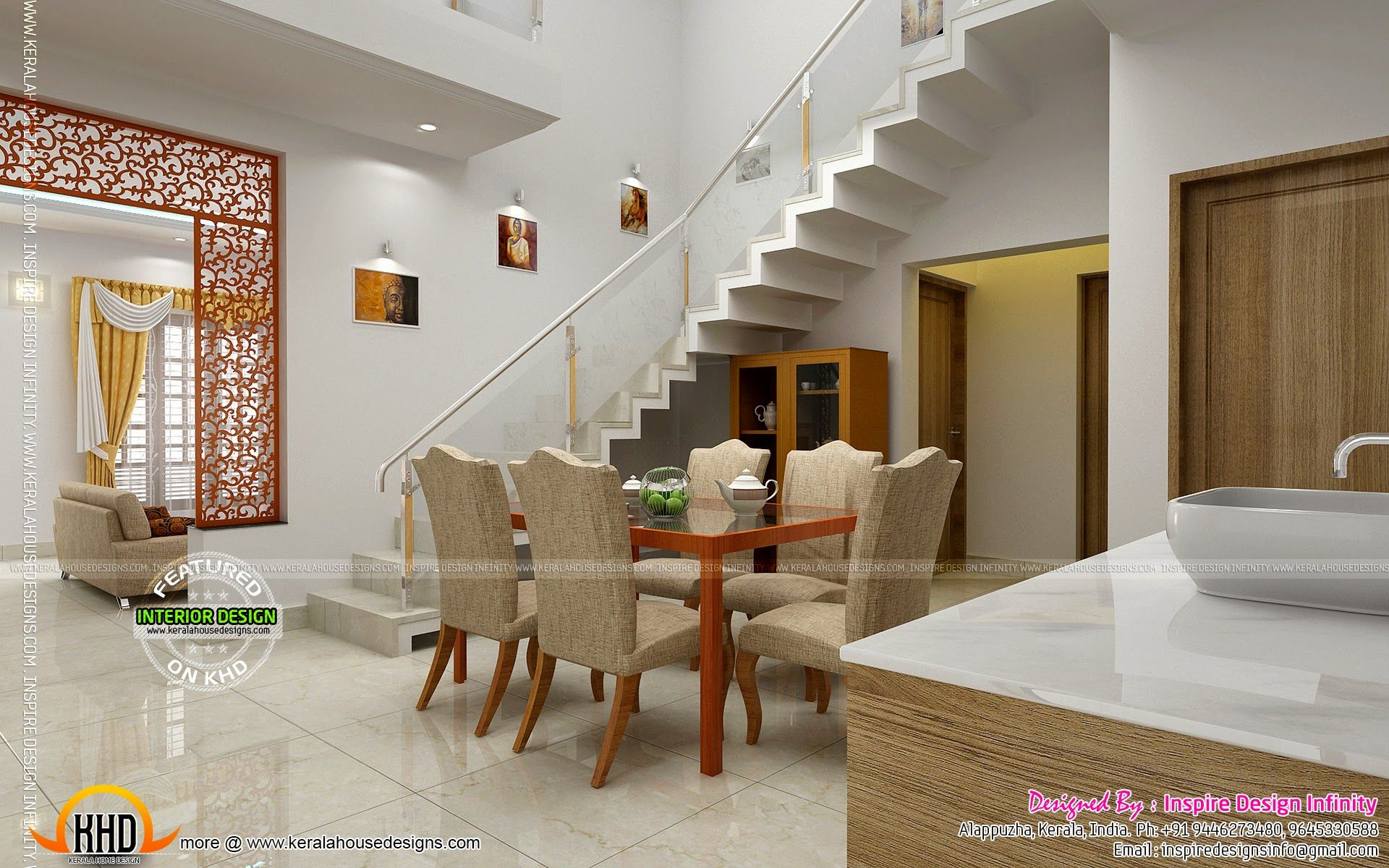 dining kitchen living room interior designs kerala home design for