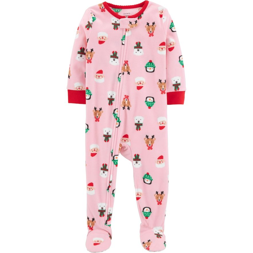 Christmas Footie Pajamas For Kids.Baby Girl Carter S Microfleece Santa Penguin Reindeer