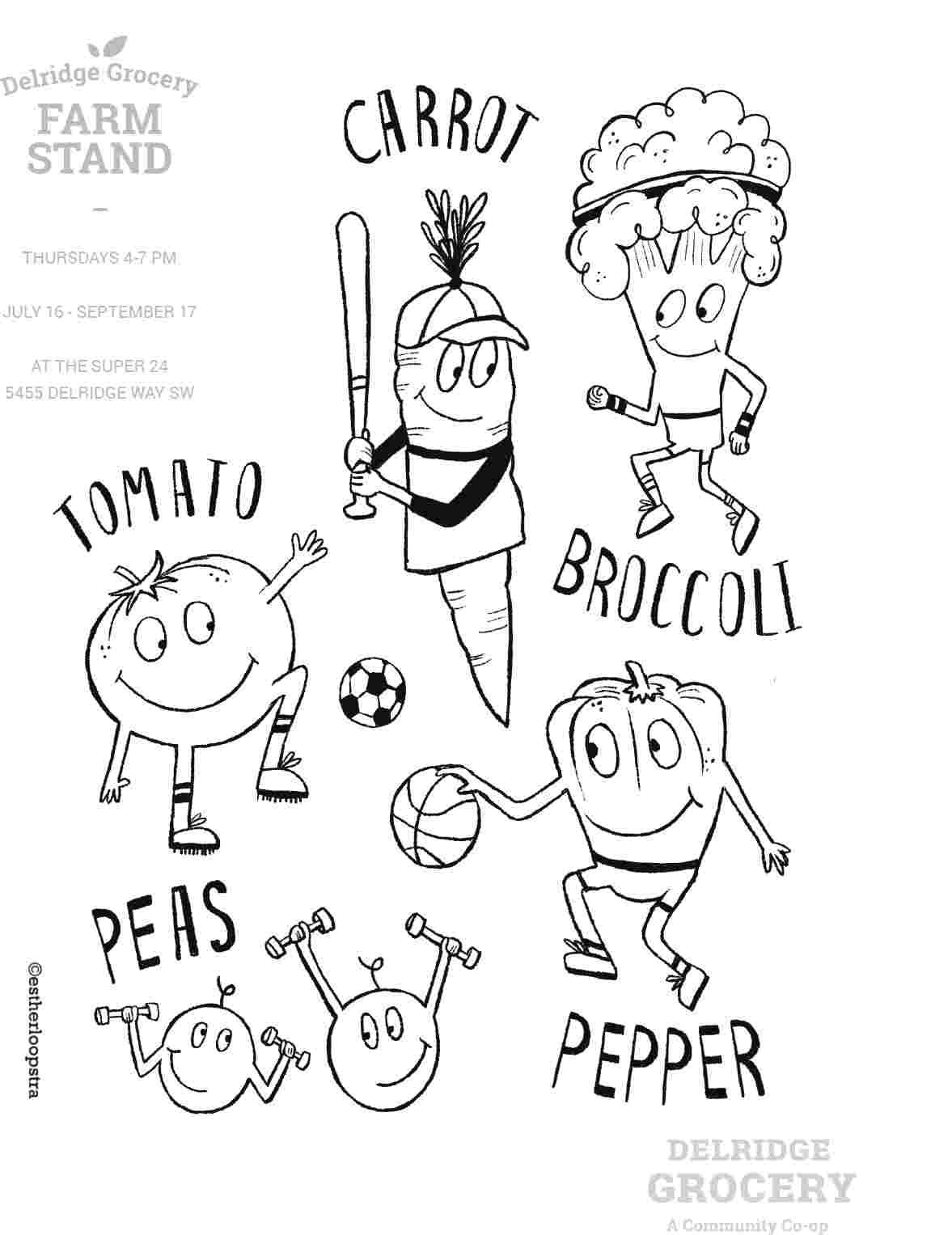Illustrated vegetable coloring page with hand lettering by