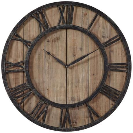 Uttermost Powell 30 Quot Round Wooden Wall Clock 3j236