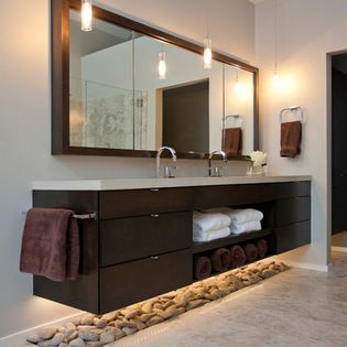 Floating Vanity With Open Shelves Design Ideas Pictures Remodel And De Modern Contemporary Bathrooms Contemporary Bathroom Designs Floating Bathroom Vanities