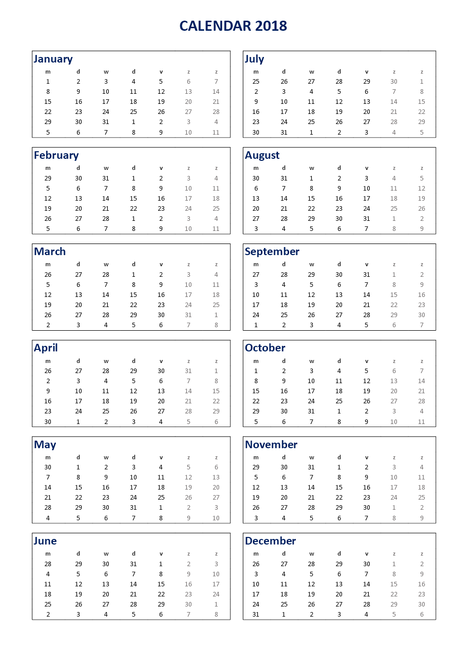 Calendar Excel A Portrait  Download Our Free  Print