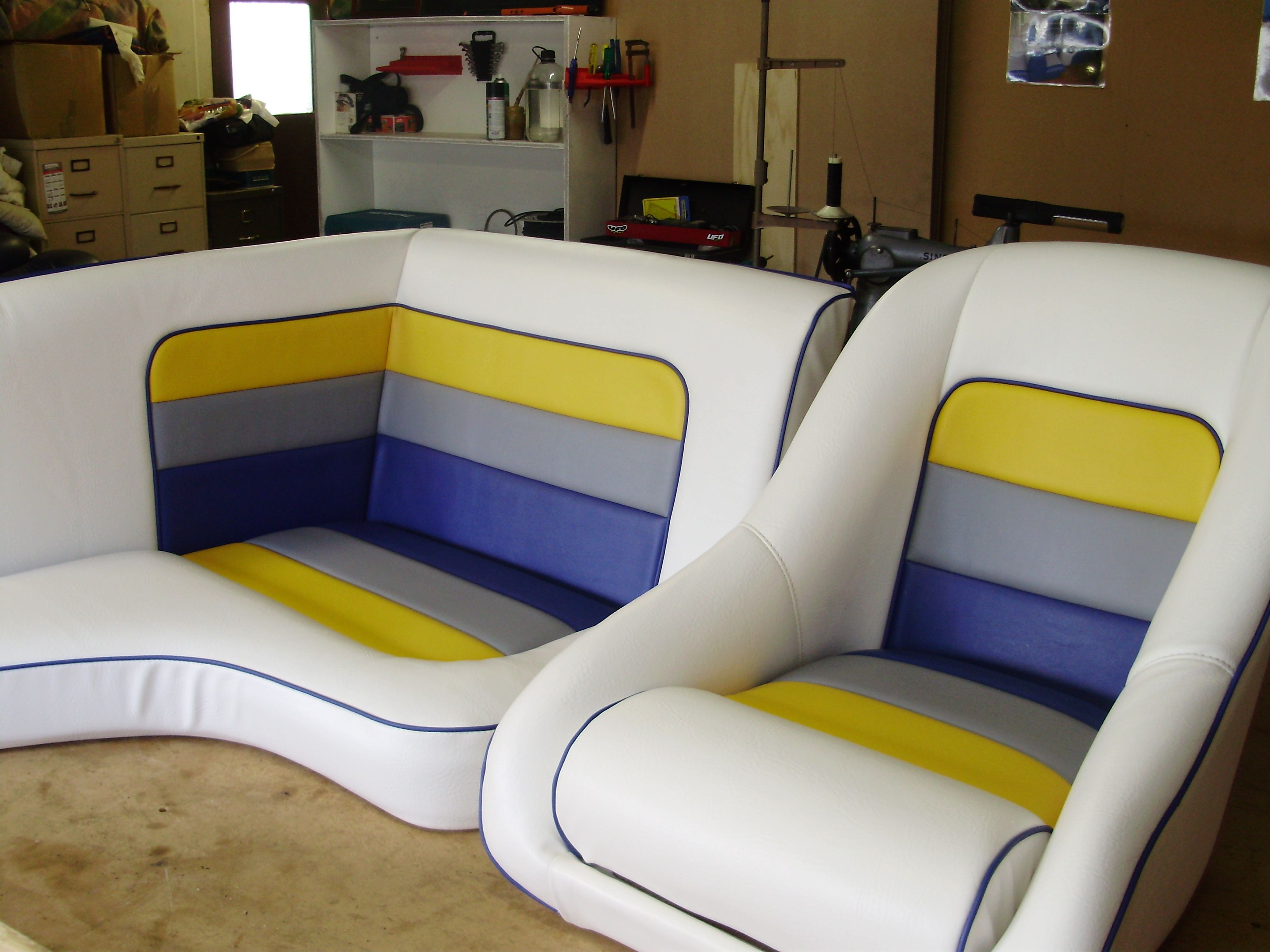 after recover for awning colors replacement homestyle seat ranger bought matched before the pedestal custom bench recovered and owner seats this we upholstery boat