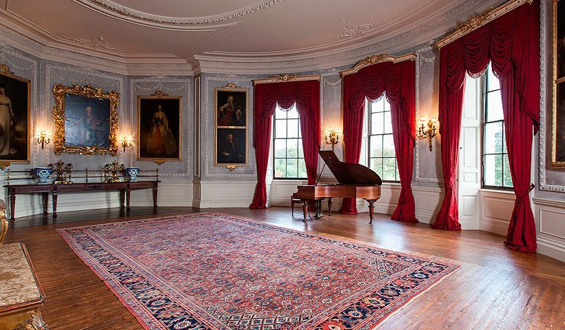 Wrotham Park The Music Room Is Blue And White With Red Curtains The Room As It Normally Is Looks Almost Unfurnished