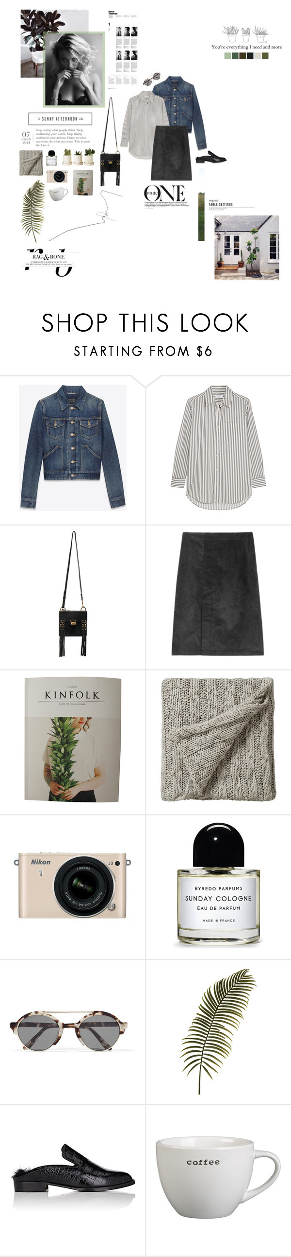 """""""You're everything I need and more."""" by sarahstardom ❤ liked on Polyvore featuring Yves Saint Laurent, Equipment, Chloé, Bedeck, Nikon, Byredo, Illesteva, Robert Clergerie and Crate and Barrel"""