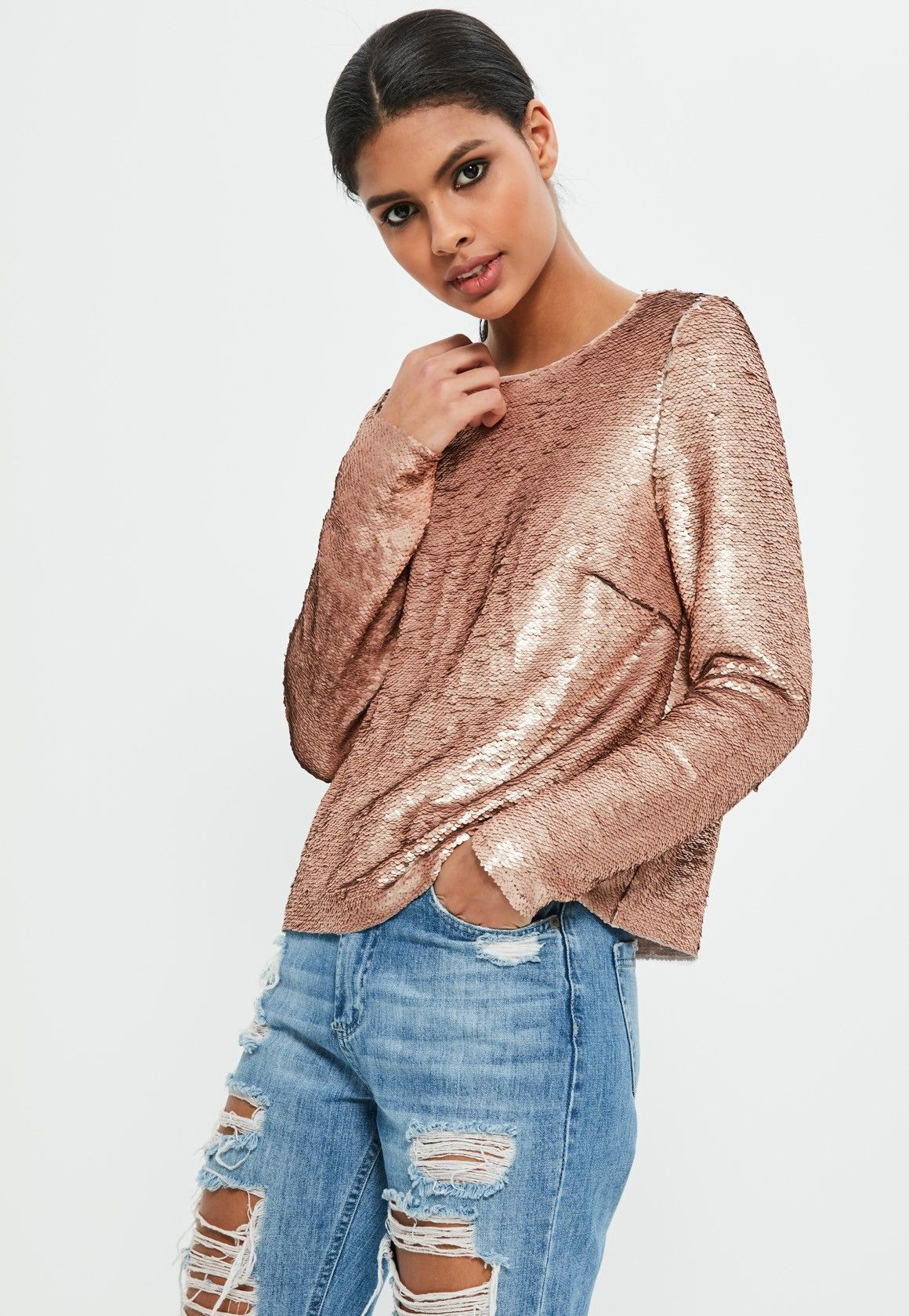 Missguided - Petite Exclusive Gold Long Sleeve Sequin Top