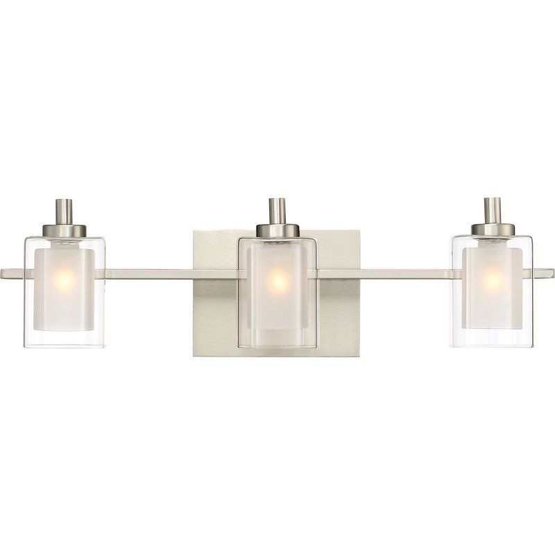 Quoizel kolt 3 light wide bathroom vanity lights with clear glass brushed nickel indoor lighting bathroom fixtures vanity light