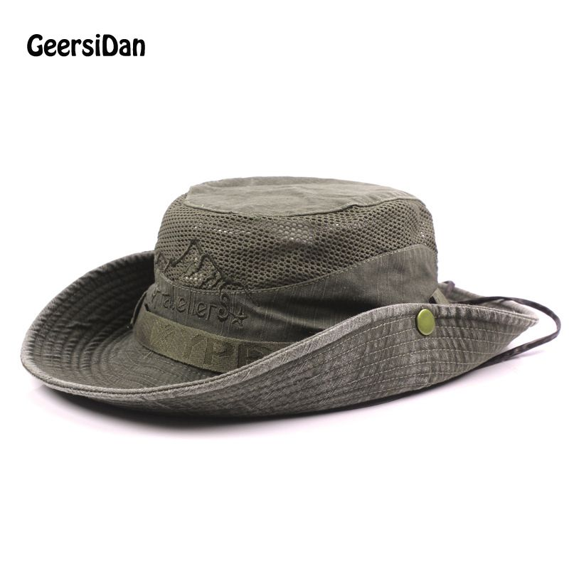 b05314cb GEERSIDAN Men's Bob Summer Bucket Hats Outdoor Fishing Wide Brim Hat UV  Protection Cap Men Hiking