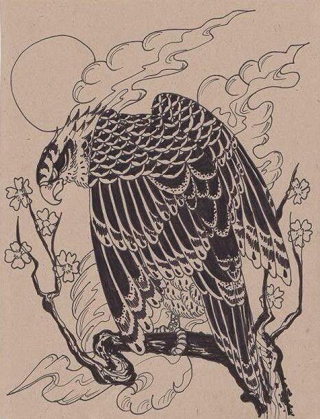 pin by andrea carpena on avians hawk tattoo, japanese tattoo arthawk
