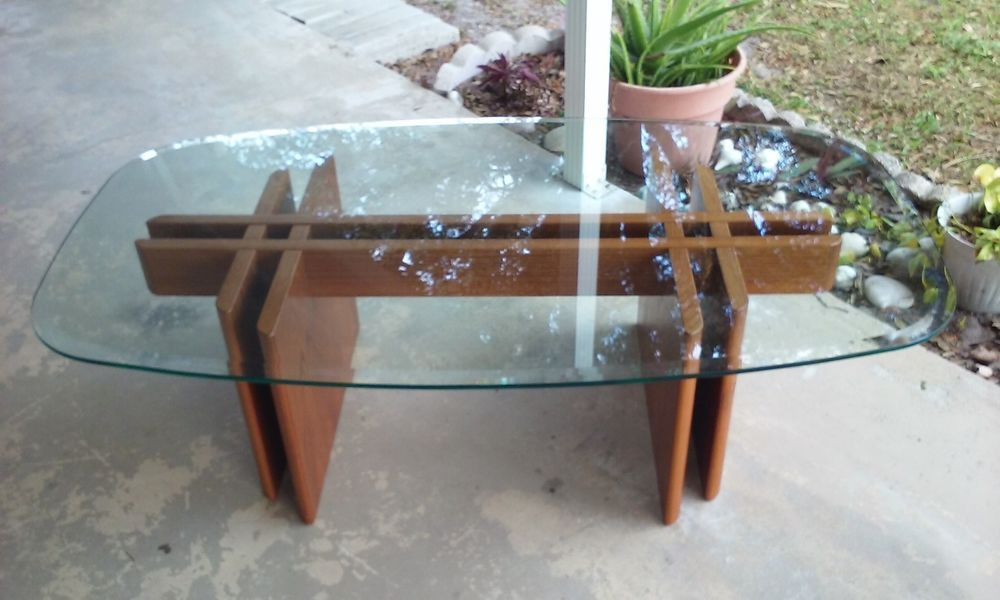 Mid Century Modern Danish Teak Glass Fishbone Coffee Table Made