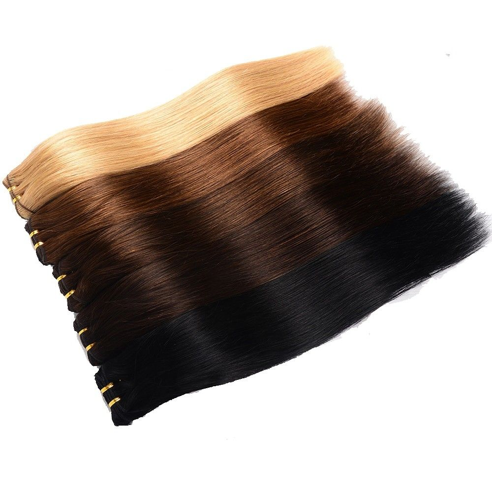 Pre-Colored Straight Clip-In Remy Human Hair Extensions Set #humanhairextensions