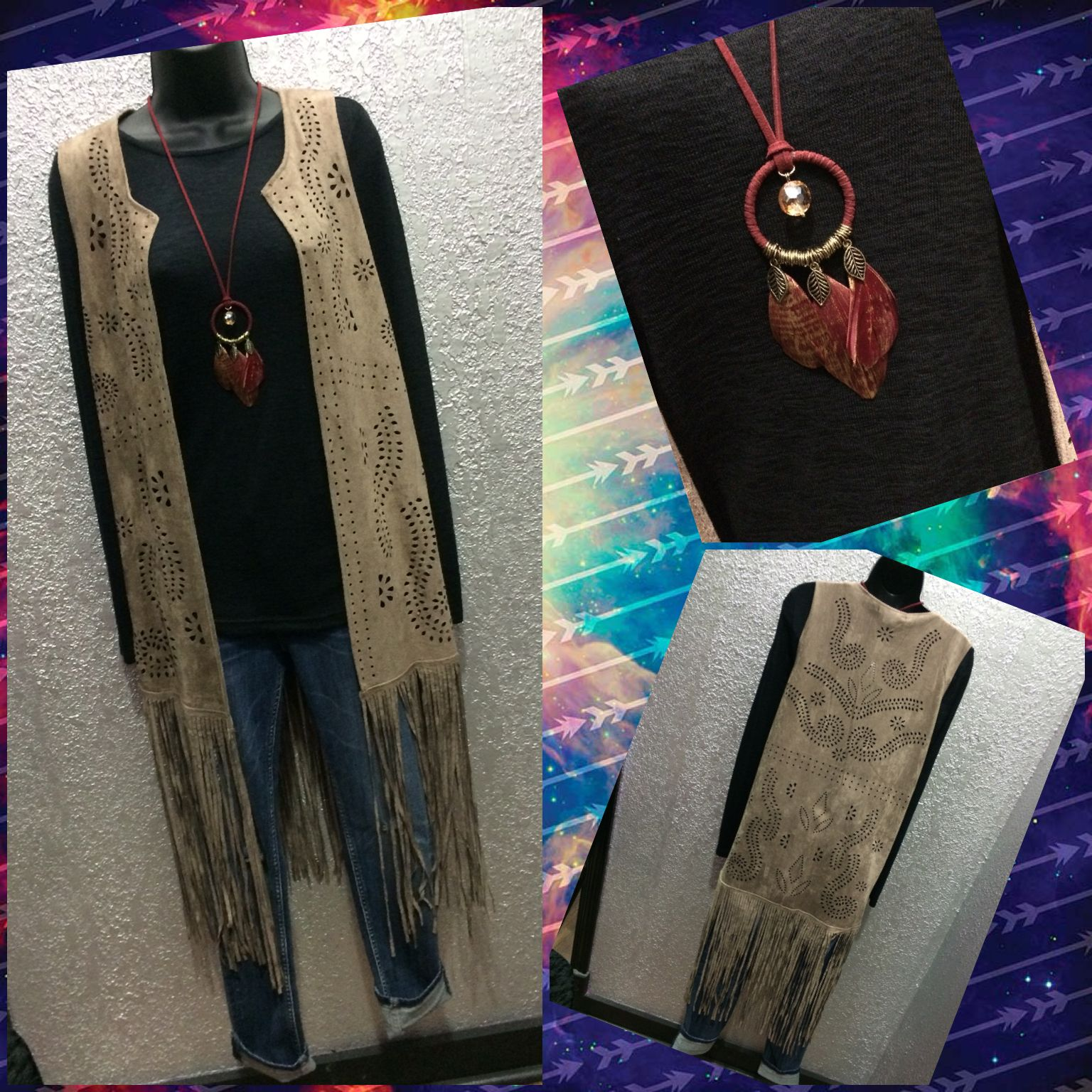 "Come get your Monday swag on with Moda! This suede fringe vest is the perfect accent to any long sleeve and denim outfit! -Nat  ""Ask and you will receive! Seek and you will find! Knock and the door will be open to you!"" Matthew 7:7"