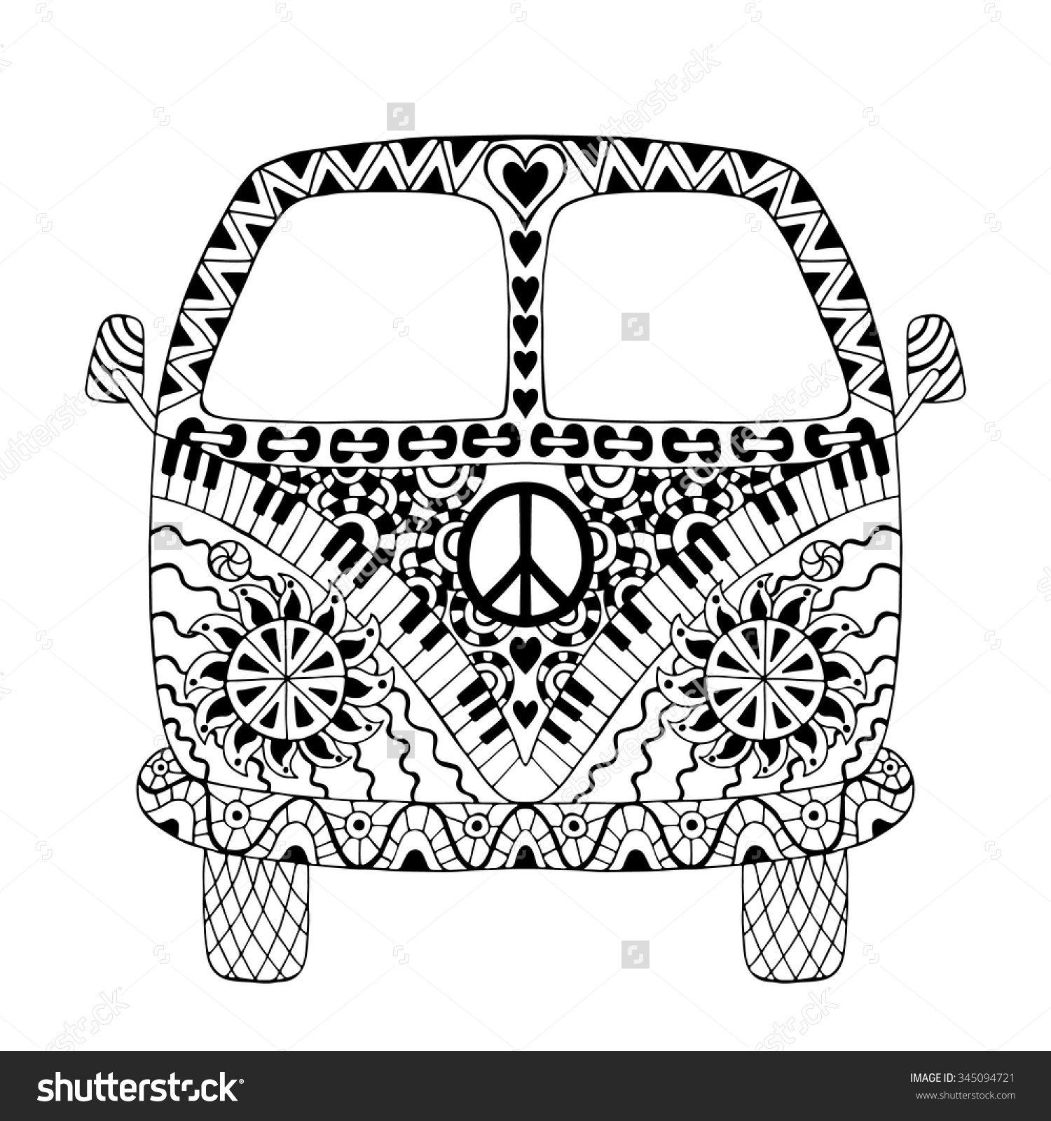 Hippie vintage mini van in zentangle style