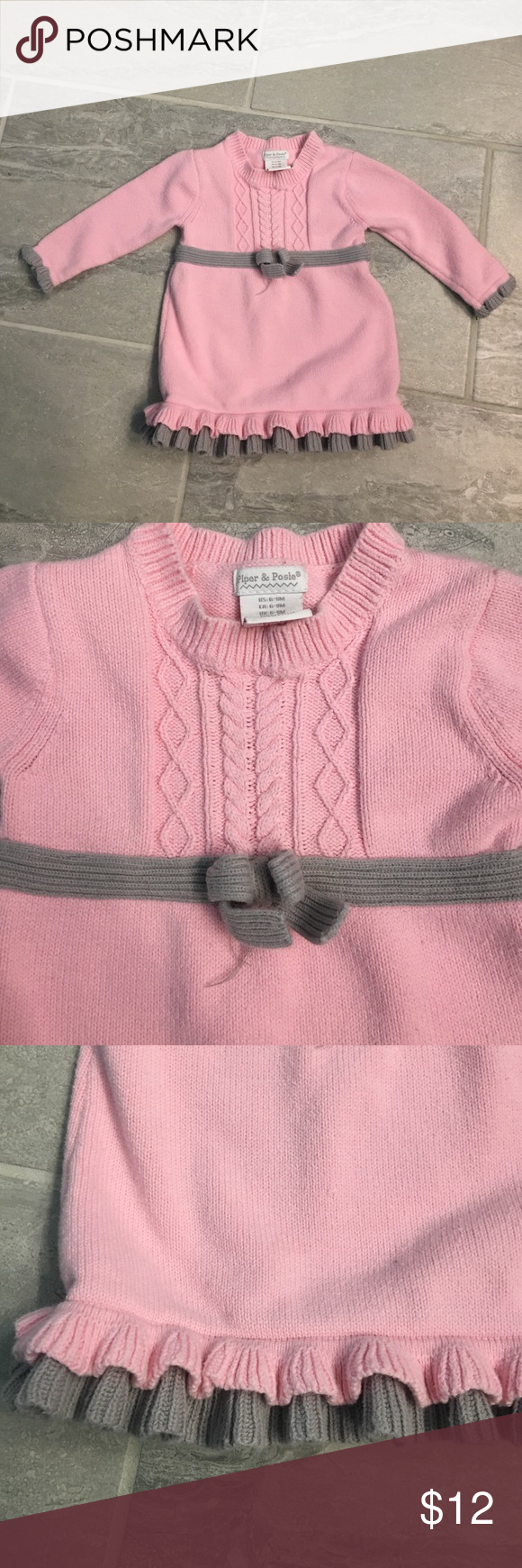 Pink and Gray Sweater Dress 6-9 Month baby girl pink and gray sweater dress. Piper and Posie Dresses