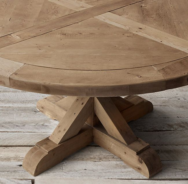 Salvaged Wood X Base Round Dining Table Round Dining Table Dining Table Round Wood Dining Table