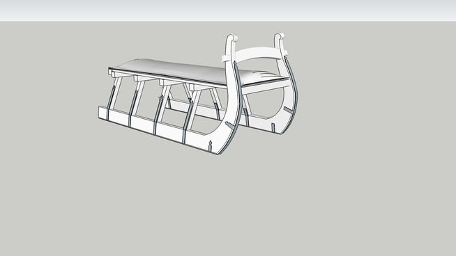 Restoration Hardware - Antique Hungarian Sleigh Bench - 3D Warehouse