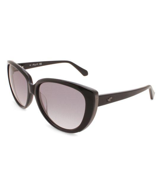 Shiny Black Gradient Oversize Cat-Eye Sunglasses