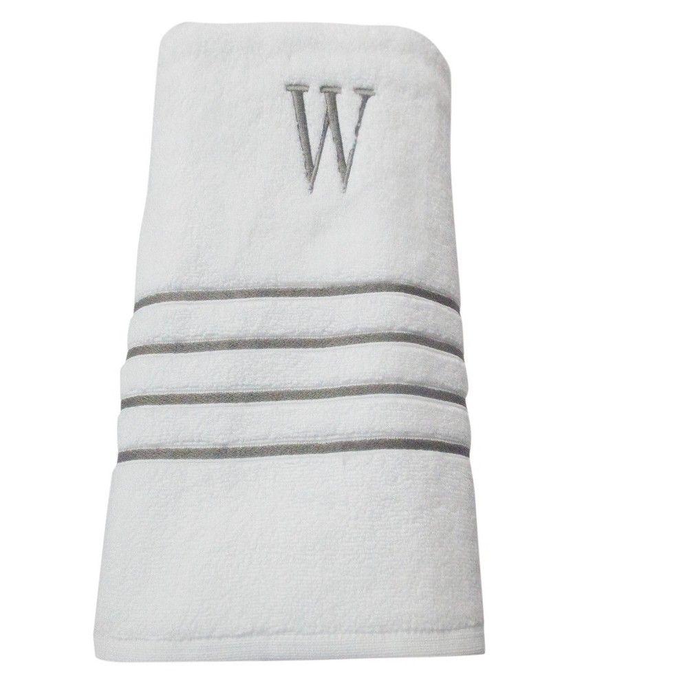 Monogram Bath Towel W White Skyline Gray Fieldcrest Gray
