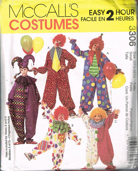 Size SM Adult Easy Clown Costume Sewing Pattern - Clown Halloween ...