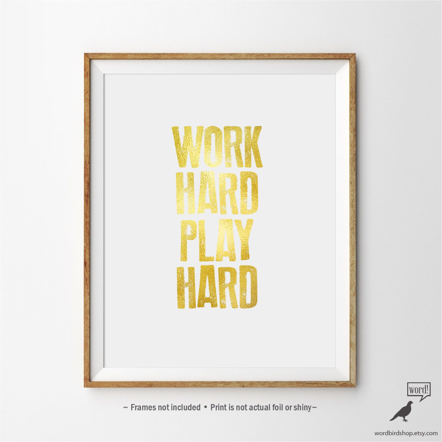 Inspirational Print, Work Hard Play Hard Office Wall Art ...
