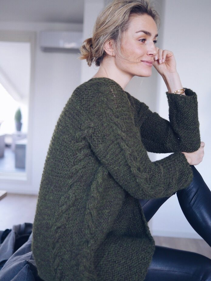 Camilla Pihl - homemade cable knit sweater.