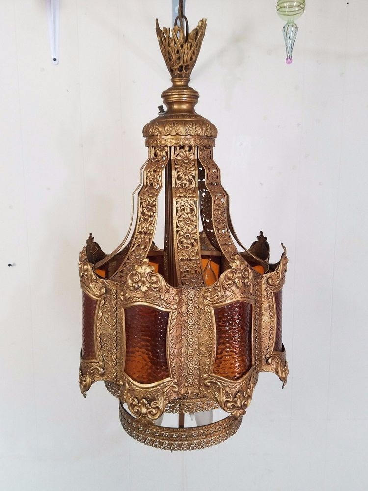 Vintage brass ornate pierced swag lamp light chandelier fixture vintage brass ornate pierced swag lamp light chandelier fixture chain gold gilt aloadofball