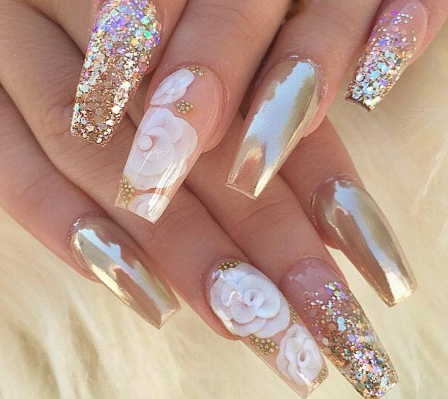 Flor bajo acrílico   uñas decoradas   Pinterest   Nail nail, Stylish ...