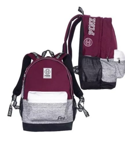 NEW Victoria's Secret PINK CAMPUS BACKPACK Maroon Ruby/Gray (Black ...