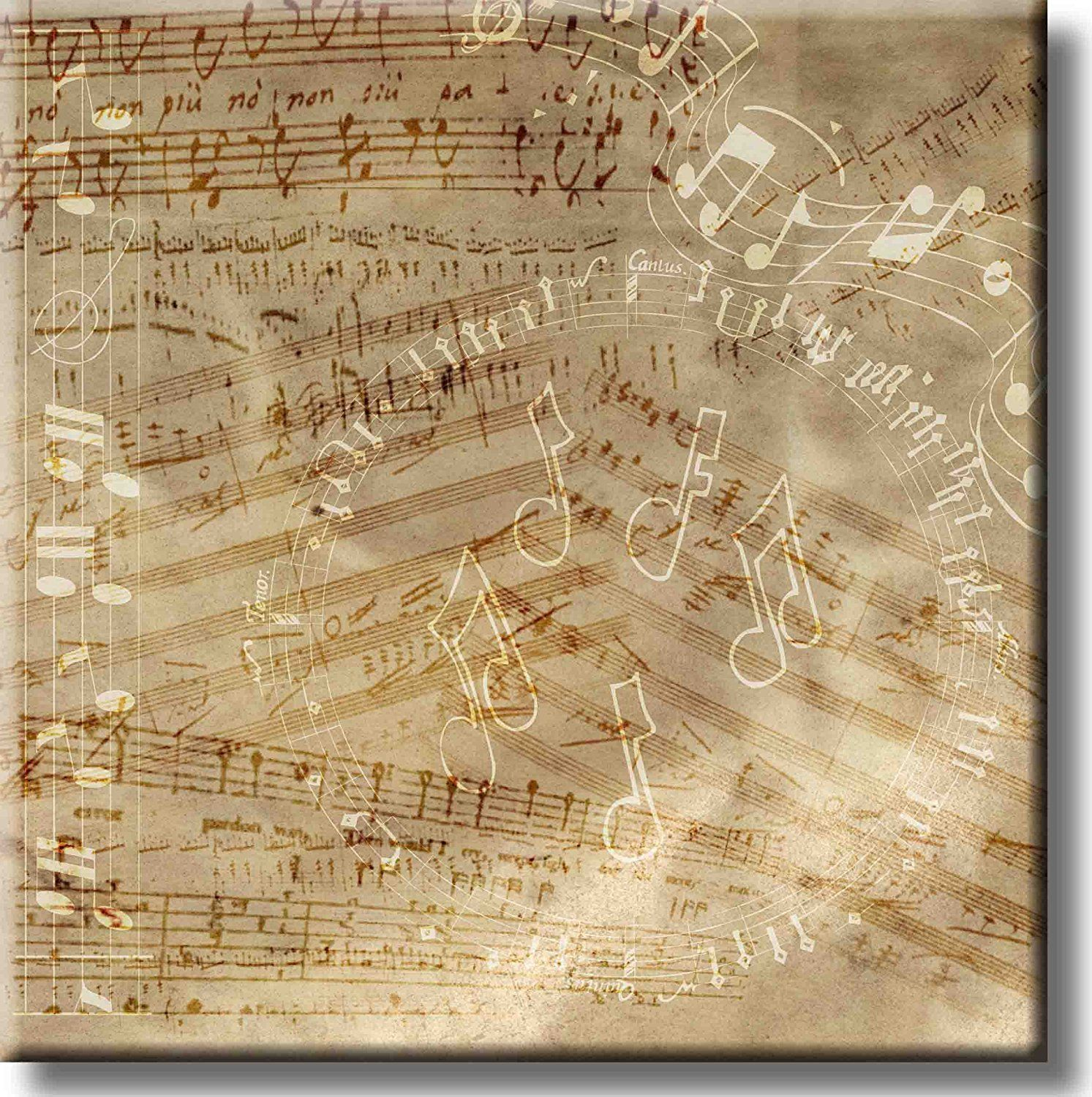 Vintage Music Notes Picture on Stretched Canvas, Wall Art Décor ...