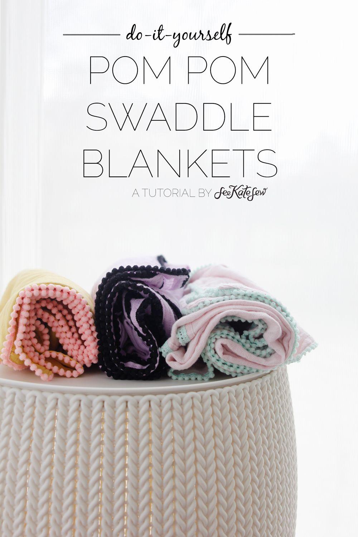 DIY Pom Pom Swaddle Blankets | Costura, Cuerdas y Hilo