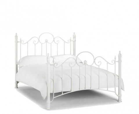 Andria Off White Metal Bed Frame White Double Bed Frame White