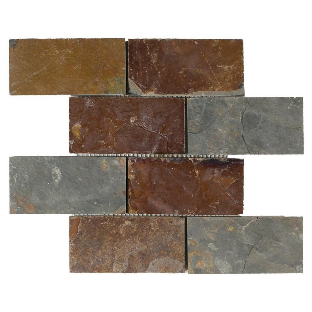 Multicolor Brick Slate Mosaic 12in X 100192947 Floor And Decor