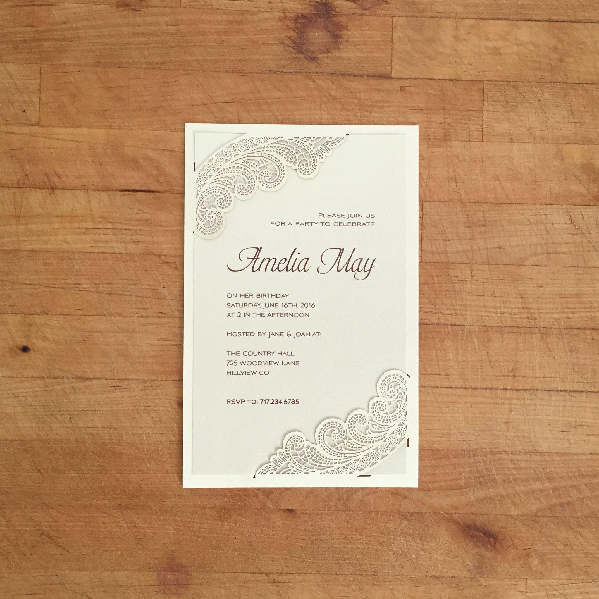 wedding invitations divas%0A Laser Cut Invitation  Chantilly Lace Corner Cut  A   Offset Printed