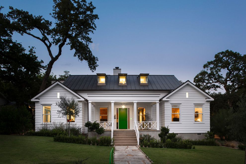 White House With Metal Roof Exterior Farmhouse Concrete Front Porch