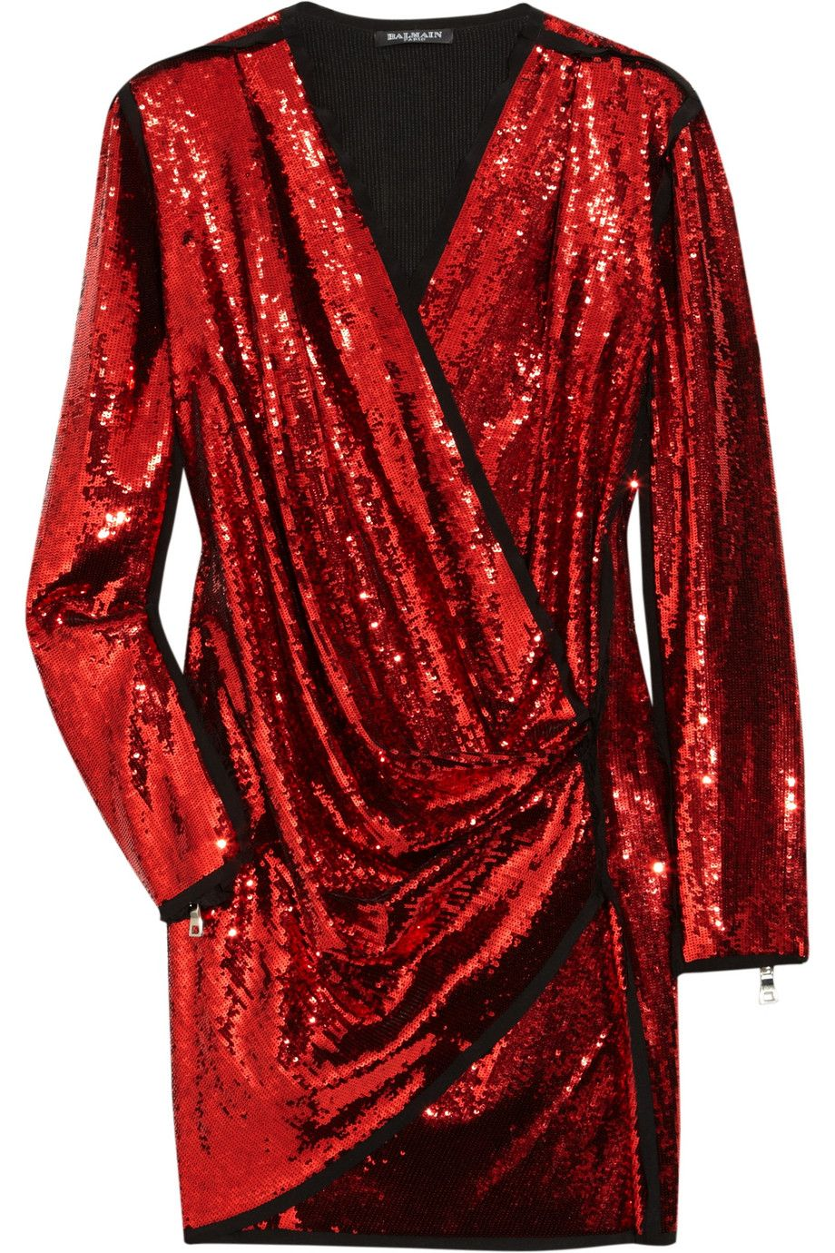 Balmain Red Sequin Dress