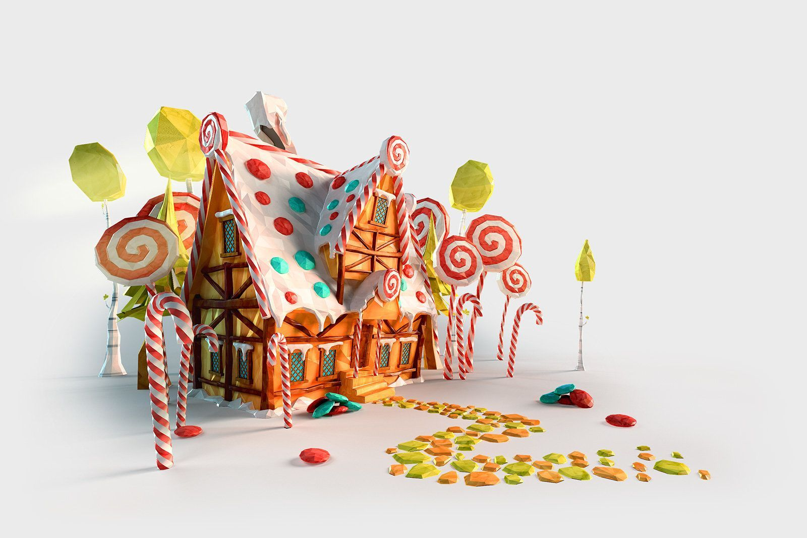 Image Result For Gingerbread House Toon 3d Rendered Candy House Fairytale Illustration Fairy Tales