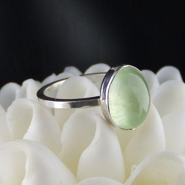 Prehnite Stacker Sterling Silver Ring