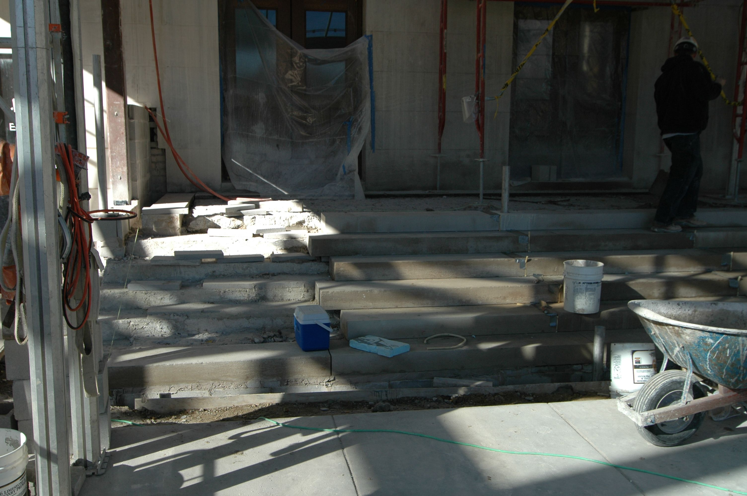 Cement and stair repair in the process of being completed