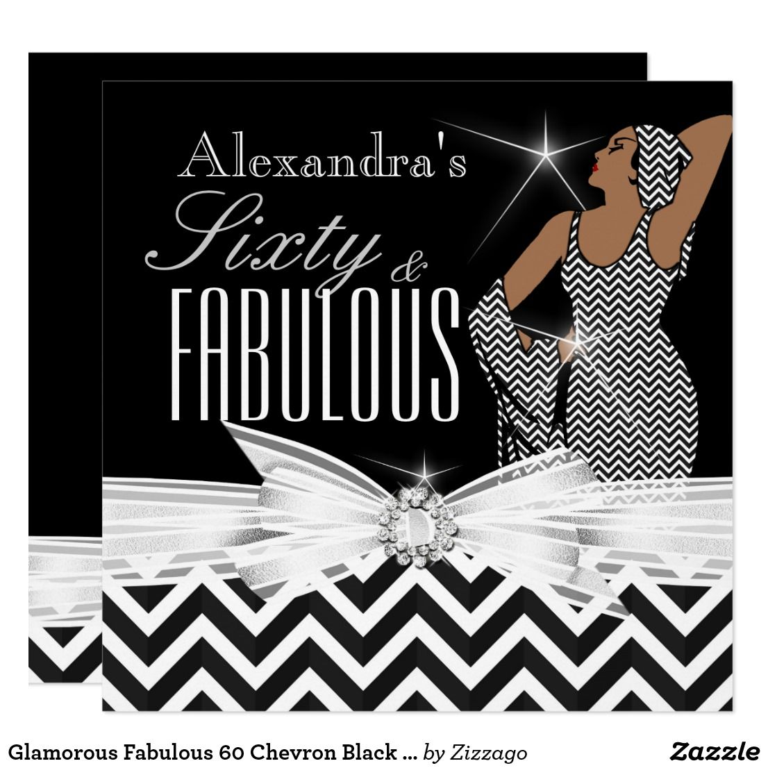 Glamorous Fabulous 60 Chevron Black White Birthday Card Woman And Pattern Elegant Vintage Retro Stylish 60th
