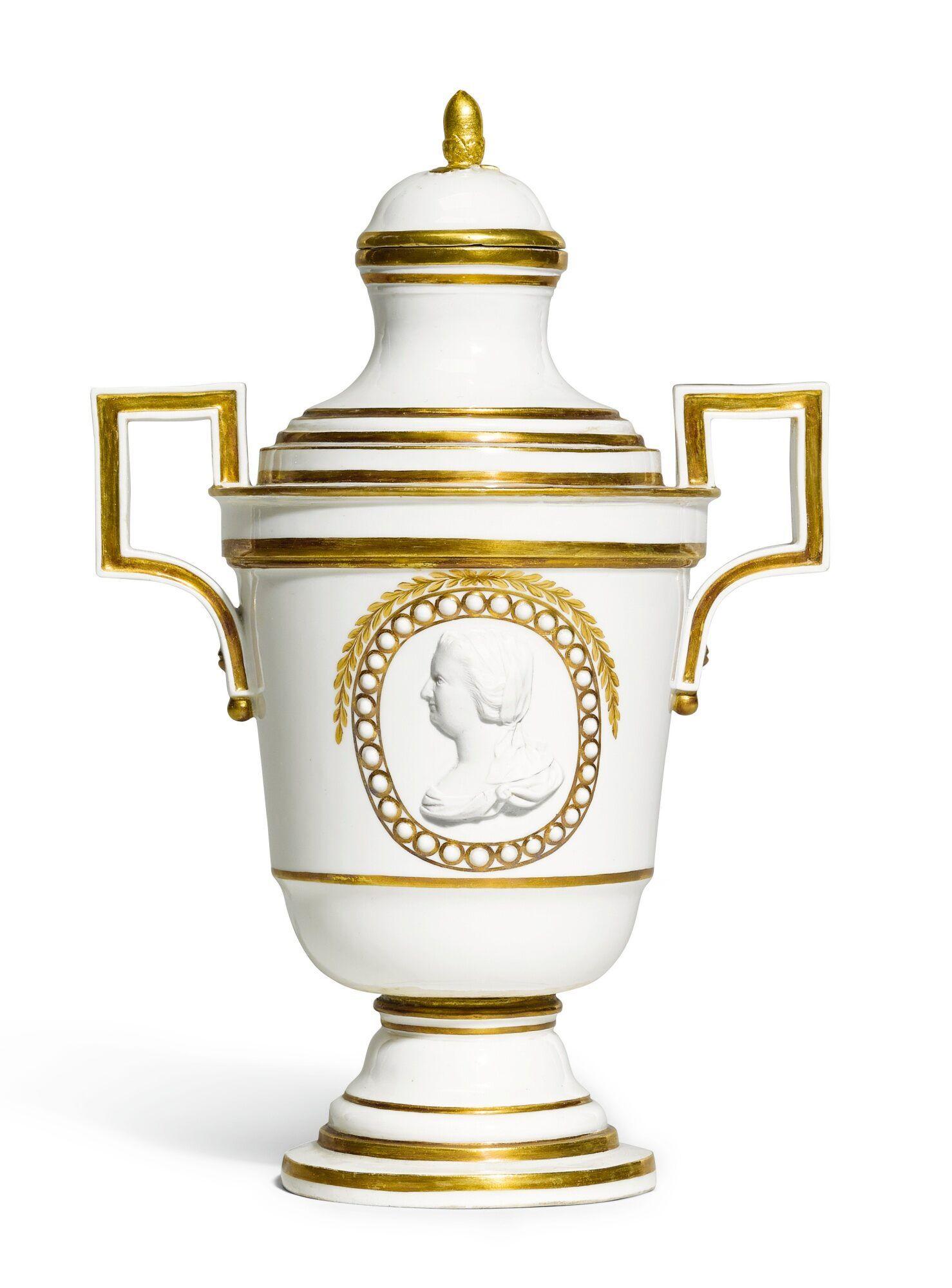 A Fulda porcelain biscuit medallion vase and cover, 1780